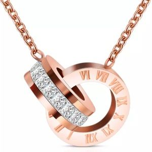 Just in🎉Elegant Rose Gold Rhinestone Necklace